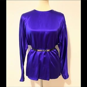 ELLEN TRACY LONG SLEEVE 100% SILK BLOUSE